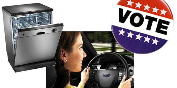 A collage depicting a washing machine, a person driving, and a 'Vote' button.
