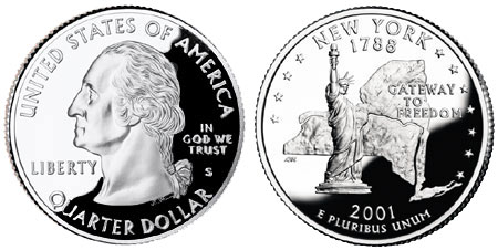 A U.S. quarter-dollar coin, showing both the heads and tails sides.