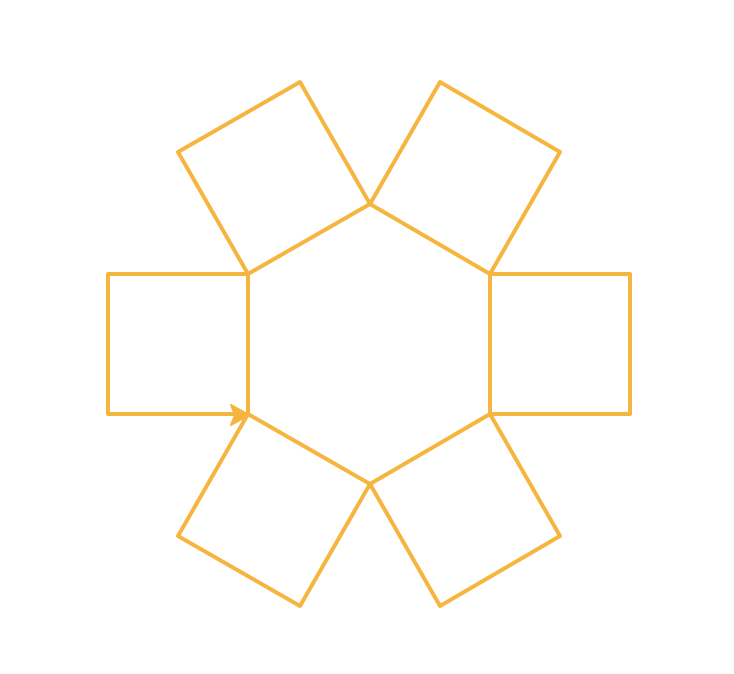 Six orange boxes that touch at the corners to form a hexagon. The boxes extend outside the circle like flower petals extending from the center of a flower.