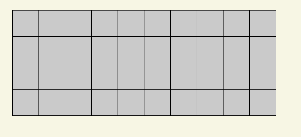 Another grid, with gray squares and black lines, which has 10 columns and 4 rows.