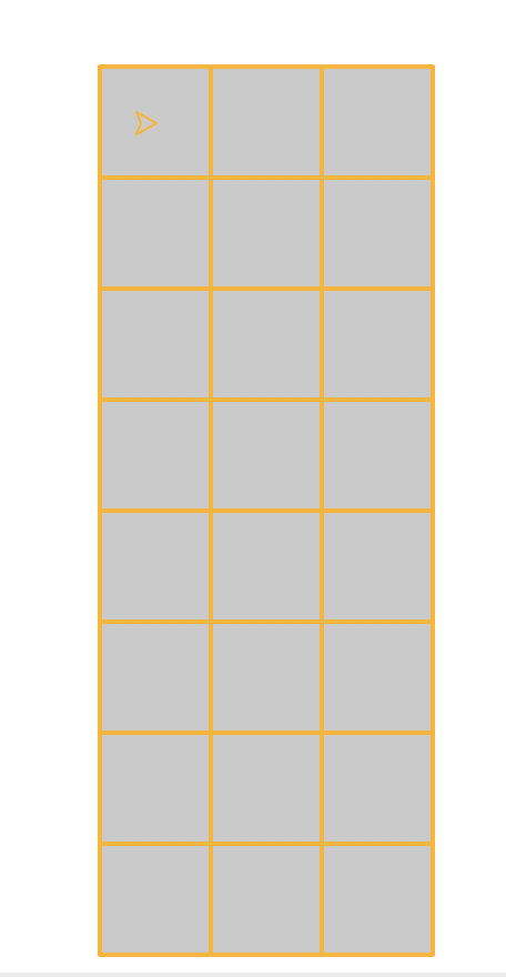 A grid of gray squares with orange borders, touching each other so that the whole grid forms one rectangle. The grid is three squres wide adn 8 squares tall; the turtle is visible in the upper-left square of the grid.