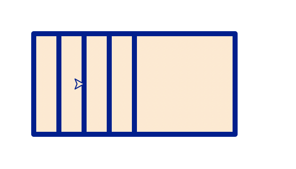 A row of 5 overlapping squares, where only 1/4 of each square is visible because of the overlaps, except for the last square which is completely visible.