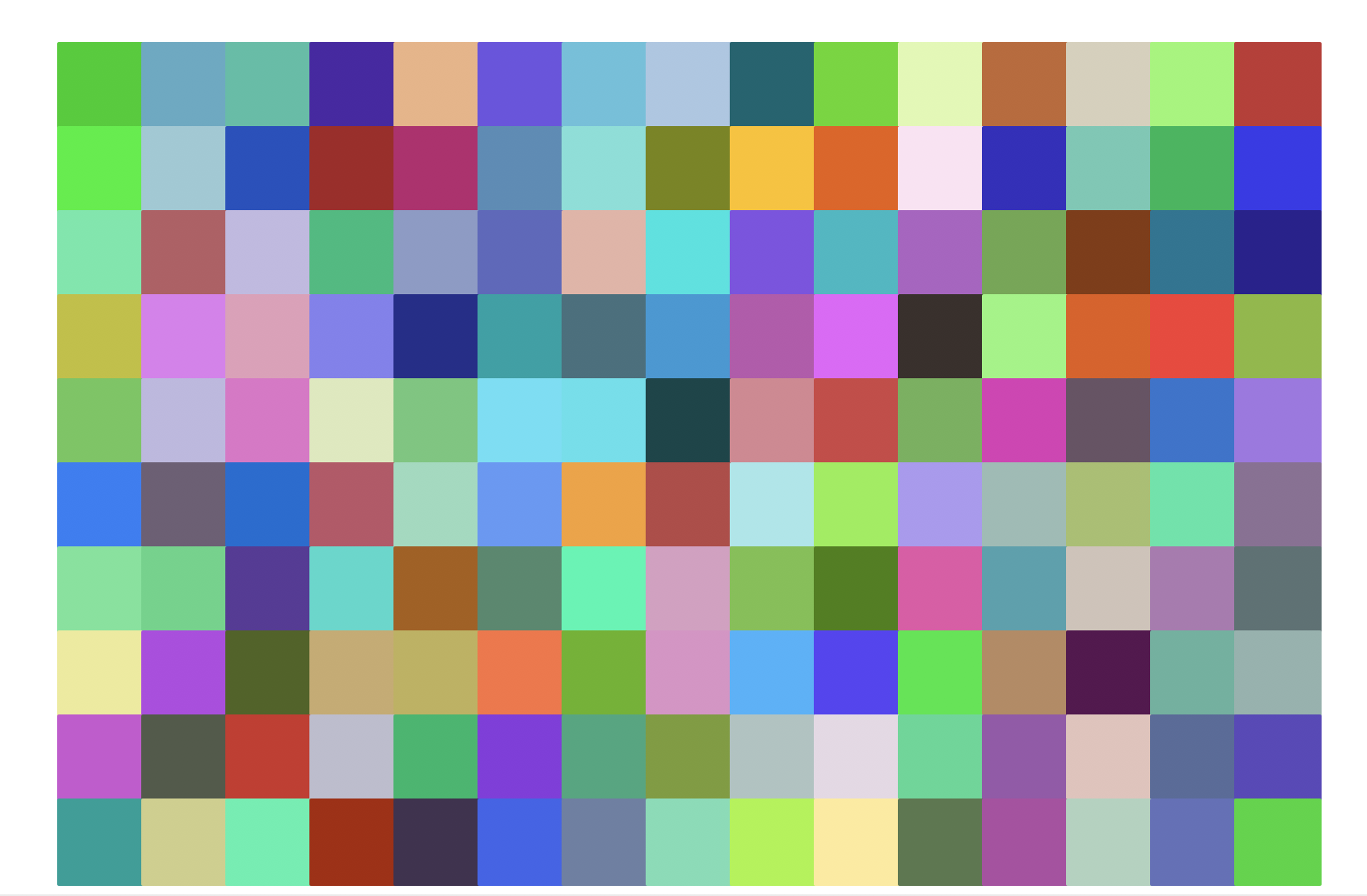 Another grid of squares, with 10 rows and 15 columns. This time, there are no outlines, and each square has a random color.
