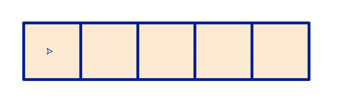 A row of 5 squares filled with a light tan color and outlined in dark blue. Each square is directly touching the next so the row forms a solid line.