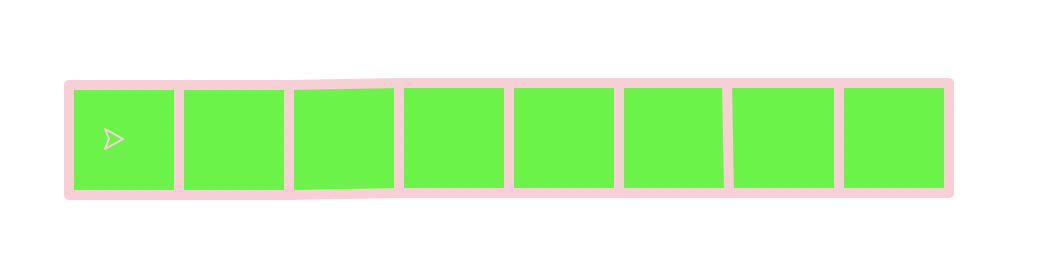 A row of 8 bright green squares outlines in pink.