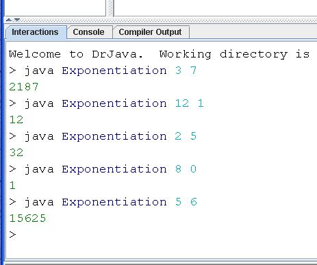 exponents java
